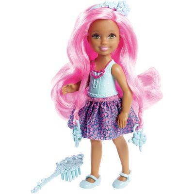 Mini Boneca Barbie - Reinos Mágicos - Chelsea Penteados Mágicos - Penteado Pink - Mattel