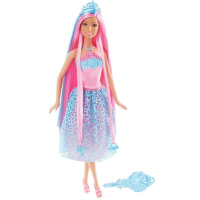 Boneca Barbie - Reinos Mágicos - Princesas Penteados Mágicos - Cabelo Pink - Mattel - Disney