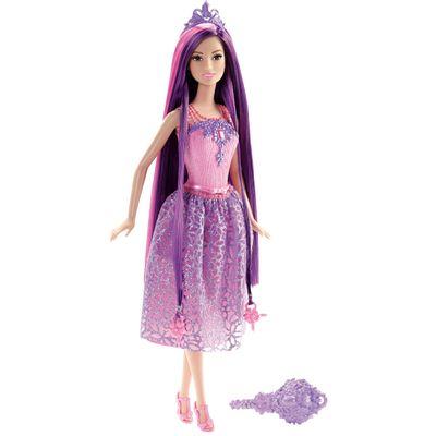 Boneca Barbie - Reinos Mágicos - Princesas Penteados Mágicos - Cabelo Roxo - Mattel - Disney