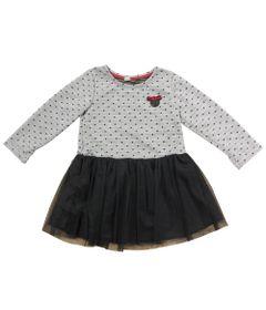 Vestido-Manga-Longa-com-Tule---Mescla-e-Preto---Minnie-Mouse---Disney