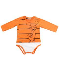 Body-Manga-Longa-com-Camiseta-Sobreposta---Laranja---Tigrao---Winnie-The-Pooh---Disney