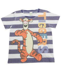 Camiseta-de-Manga-Curta---Listrada-Branca-e-Azul---Tigrao---Winnie-The-Pooh---Disney