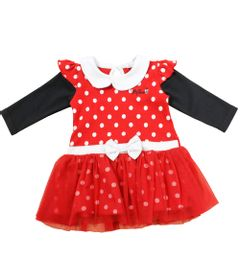 Vestido-Manga-Longa-com-Tule---Vermelho-Preto-e-Branco---Minnie-Mouse---Disney