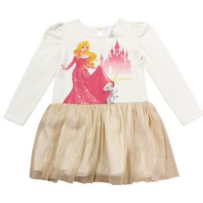 Vestido Manga Longa com Tule - Off White e Dourado - Aurora - A Bela Adormecida - Princesas - Disney