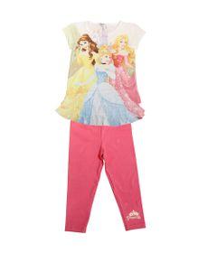 Conjunto-Bata-Manga-Curta-e-Legging-de-Cotton---Estampada-e-Rosa---Princesas---Disney---1