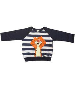 Blusa-de-Moletom-com-Cotoveleira---Marinho-e-Branco---Tigrao---Winnie-The-Pooh---Disney---P
