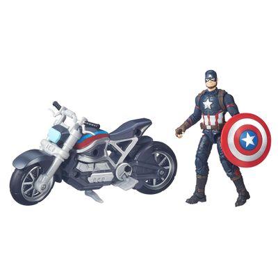 Figura Articulada 18cm Com Veículo - Marvel Avengers - Capitão América Guerra Civil - Capitão América - Hasbro - Disney