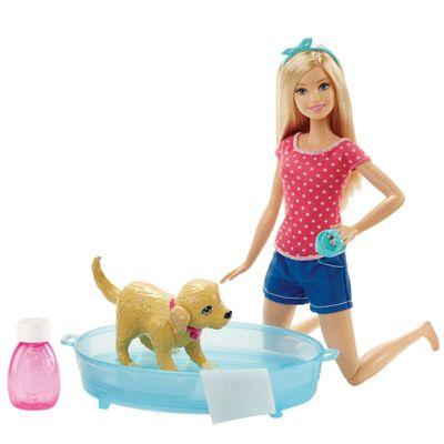Boneca Barbie - Família da Barbie - Banho do Cachorrinho da Barbie - Mattel