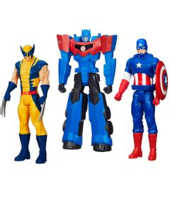 100121770-Kit-Personagens-Favoritos---Figuras-Articuladas-30-Cm---Titan-Hero-Capitao-America---Wolverine-e-Optimus-Prime---Hasbro