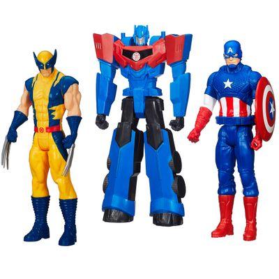 100121770-Kit-Personagens-Favoritos---Figuras-Articuladas-30-Cm---Titan-Hero-Capitao-America---Wolverine-e-Optimus-Prime---Hasbro