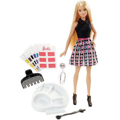 Boneca Barbie - Conjunto Salão de Cores - Barbie Com Acessórios de Cabelo - Mattel