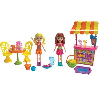 Mini Boneca com Acessórios - Polly Pocket - O Melhor dia de Todos - Polly e a Barraca de Limonada - Mattel