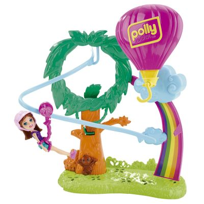 Playset e Mini Boneca Polly Pocket - Surpresa Safari - Balão de Ar Quente - Mattel