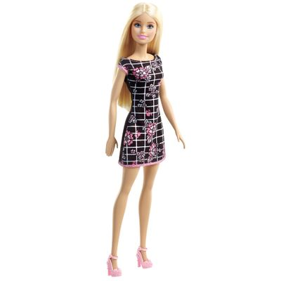 Boneca-Barbie---Fashion-And-Beauty---Vestido-Preto-com-estampa-Rosa---Mattel