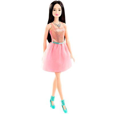 Boneca Barbie - Básica Glitz - Barbie Morena - Vestido Rosa - Mattel