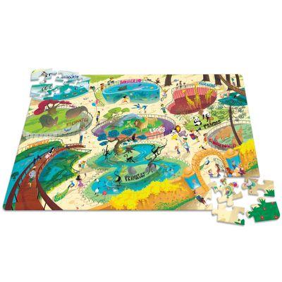 Quebra-Cabeça - Dia no Zoológico - 100 Peças - Toyster