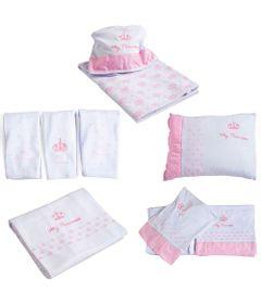 Kit-de-Lencois-Travesseiro-Paninhos-de-Boca-Toalha-e-Manta---My-Princess---Rosa---Colibri