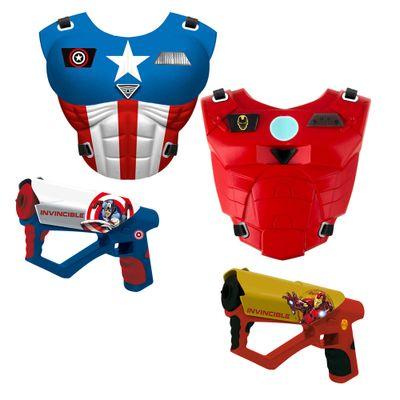 Kit de Coletes e Lançador Laser - Marvel Avengers - Capitão América e Iron Man - New Toys - Disney