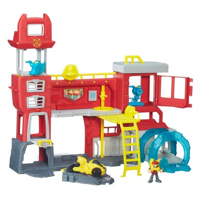 Playset Playskool Transformers Rescue Bots - Quartel General dos Bombeiros de Griffin Rock - Hasbro