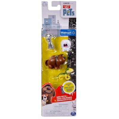 Pack 4 Figuras - 15 cm - Pets - A Vida Secreta dos Bichos - Duke, Snowball, Max e Dragon - Sunny