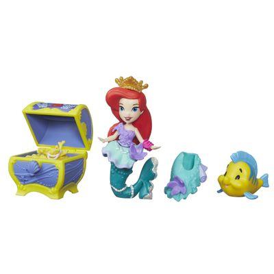 Mini Boneca com Acessórios - Disney Princesas - Little Kingdom - Ariel com Baú de Tesouros - Hasbro