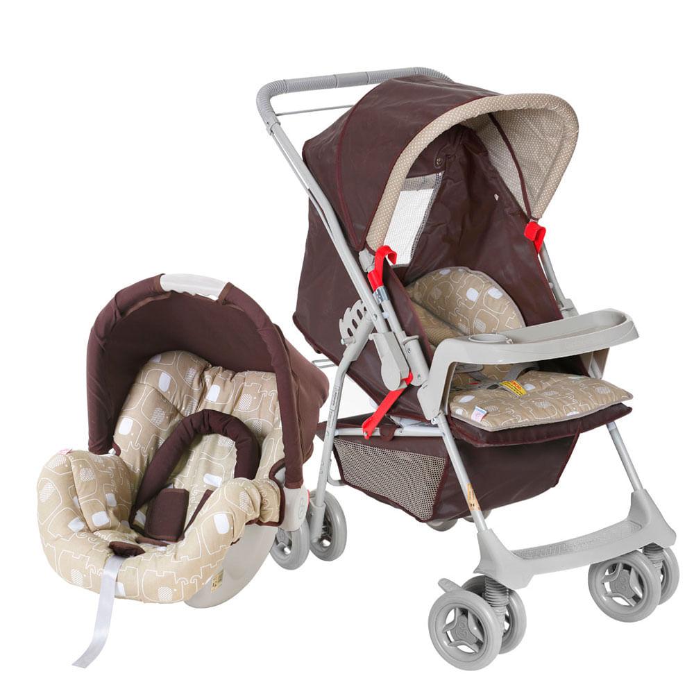 Travel System Milano com Bebê Conforto Picollina - De 0 à 13 Kg - Cacau - Galzerano