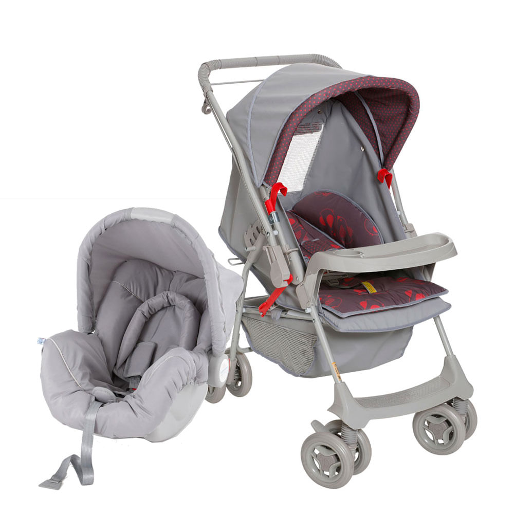 Travel System Milano com Bebê Conforto Picollina - De 0 à 13 Kg - Cinza - Galzerano