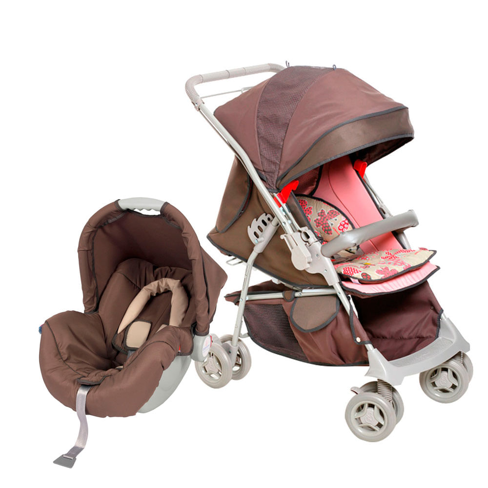 Travel System Maranello com Bebê Conforto Picollina - De 0 à 13 Kg - Chocolate - Galzerano