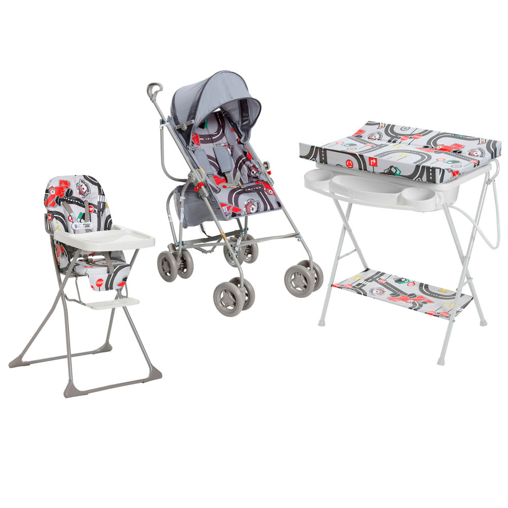 Kit Carrinho de Passeio com Cadeira de Alimentação e Banheira Com trocador - Fórmula Baby - Galzerano