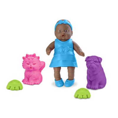 Boneca - Bebê Mania Pet - 14 cm - Negra - Roma Jensen