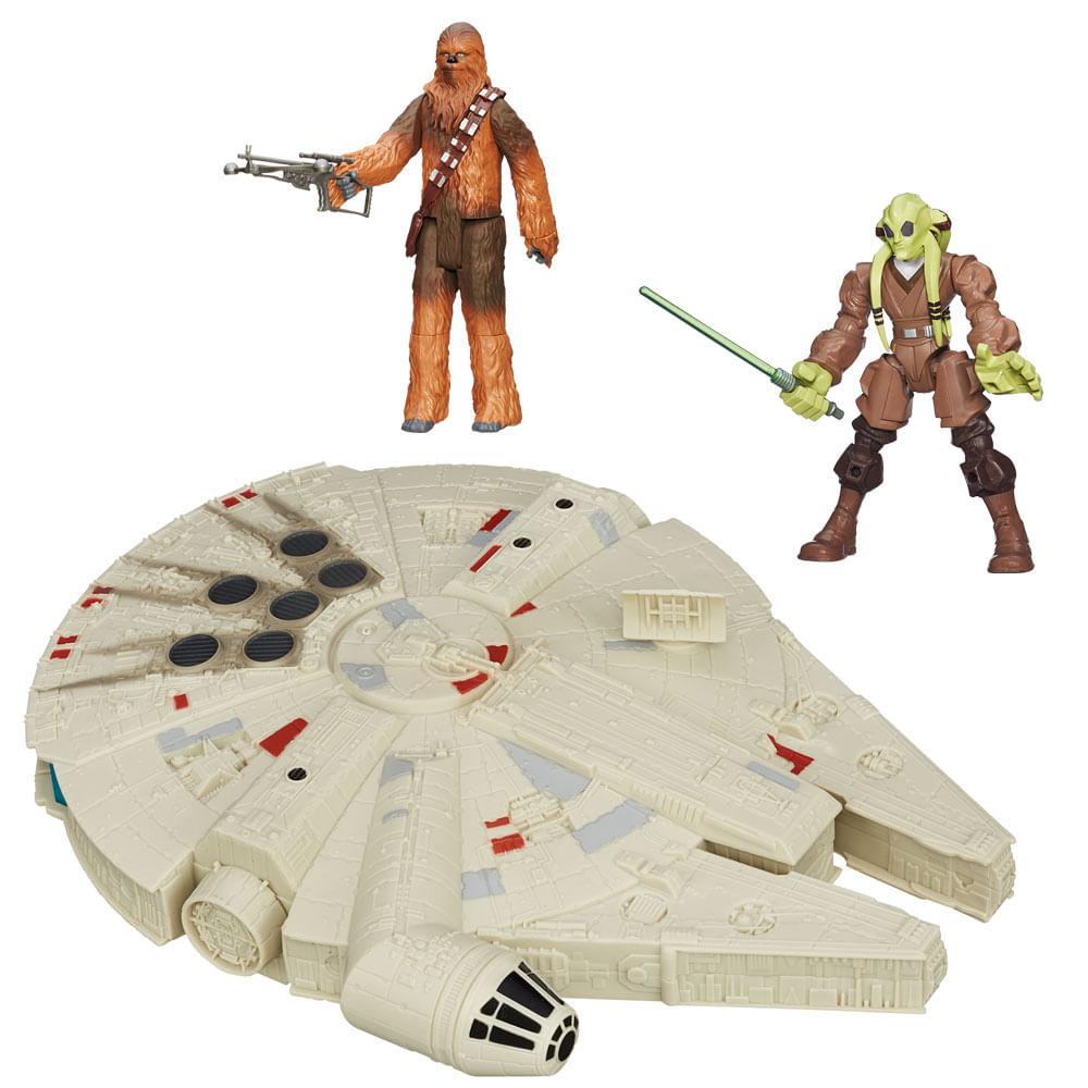 Kit 2 Bonecos + Veículo - Star Wars - Kit Fisto Hero Mashers de 15 cm, Chewbacca Articulado de 30 cm e Millenium Falcon de 25 cm - Hasbro