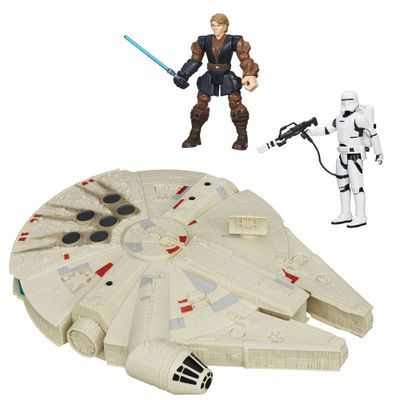Kit 2 Bonecos + Veículo - Star Wars - Anakin Jedi Hero Mashers de 15 cm, Flametrooper Articulado de 30 cm e Millenium Falcon de 25 cm - Hasbro