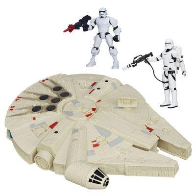 Kit 2 Bonecos + Veículo - Star Wars - Stormtrooper Hero Mashers de 15 cm, Flametrooper Articulado de 30 cm e Millenium Falcon de 25 cm - Hasbro