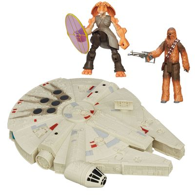 Kit-2-Bonecos---Veiculo---Star-Wars---Jar-Jar-Binks-Hero-Mashers-de-15-cm-Chewbacca-Articulado-de-30-cm-e-Millenium-Falcon-de-25-cm---Hasbro