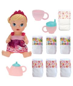 Kit-Baby-Alive---Boneca-Loira---Hora-do-Cha---Refil-com-6-Fraldas---Hasbro