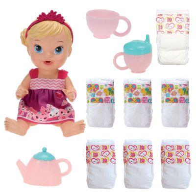 Kit Baby Alive - Boneca Loira - Hora do Chá + Refil com 6 Fraldas - Hasbro
