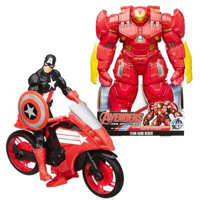 Kit Titan Hero Avengers - Boneco Articulado - 45 cm - Armadura Hulk Buster + Boneco Articulado e Veículo - Capitão América - 30 cm - Hasbro - Disney