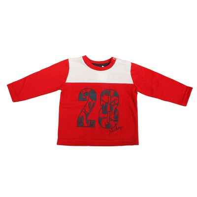 Camiseta-Manga-Longa---Meia-Malha---Vermelha-e-Branca---Mickey-College---Disney