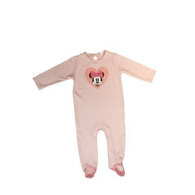 Macacão Longo com Pé em Suedine - Rosa - Minnie Candy Colors - Disney