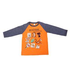 Camiseta-Manga-Longa-em-Meia-Malha---Laranja---Winnie-the-Pooh---Tigrao---Disney