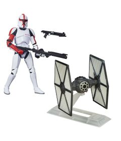 Kit-Figura-Colecionavel-Clone-Troper-e-Veiculo-Die-Cast---First-Order-Tie-Fighter---Star-Wars---VII---Hasbro