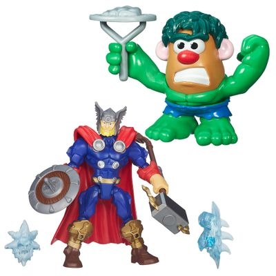 Kit-Boneco-Transformavel-15-cm-Thor-com-Escudo-e-Mini-Figura-Mr.-Potato-Head---Hulk---Marvel---Hasbro