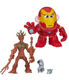 Kit-Boneco-Transformavel-15-cm-Groot-e-Mini-Figura-Mr.-Potato-Head---Iron-Man---Marvel---Hasbro