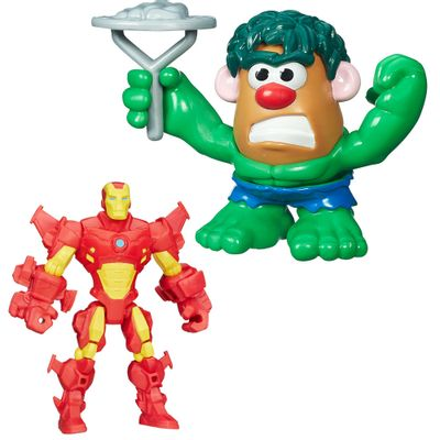 Kit-Boneco-Hero-Mashers-Iron-Man-e-Mini-Figura-Transformavel---Mr.-Potato-Head---Hulk---Marvel---Hasbro