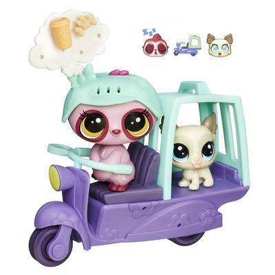 Mini Boneca com Veículo - Bicho Preguiça e Amiguinho - Littlest Pet Shop - Hasbro