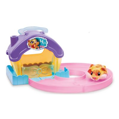 Playset Casa Hamster com Figura - Hamsters in a House - Roxo e Rosa - Candide