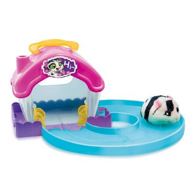Playset Casa Hamster com Figura - Hamsters in a House - Rosa e Azul - Candide