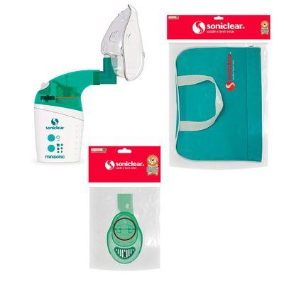 Kit com Bolsa de Transporte e Inalador Nebulizador Minisonic-NG com Acessórios - Soniclear