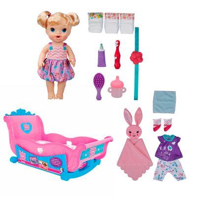 Conjunto Boneca e Acessórios Baby Alive - Boneca Bebê Festa do Pijama - Hasbro com Bercinho - Cotiplás