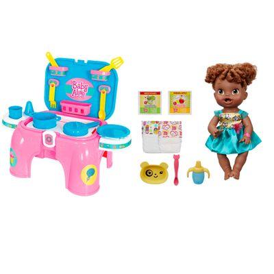 Conjunto Boneca e Acessórios Baby Alive - Boneca Bebê Hora de Comer - Hasbro com Kit de Cozinha - Cotiplás